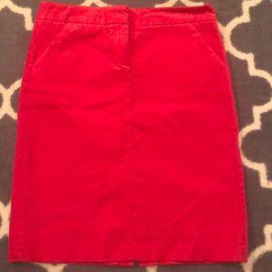 J Crew Red Corduroy Pencil Skirt